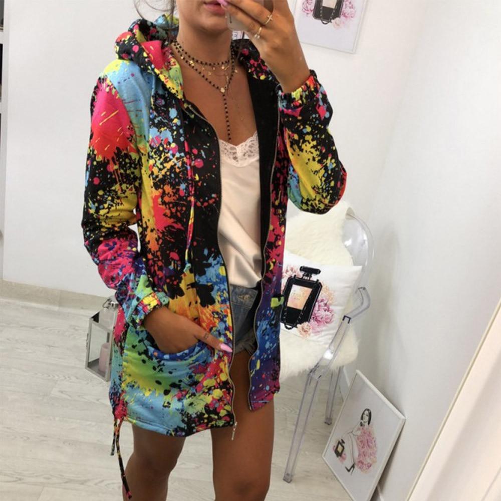 HTB1BBJeaHH1gK0jSZFwq6A7aXXaB Autumn Jackets Fashion Womens Tie dyeing Print Coat Outwear Sweatshirt Hooded Jacket Female Casual Pockets Overcoat#3s