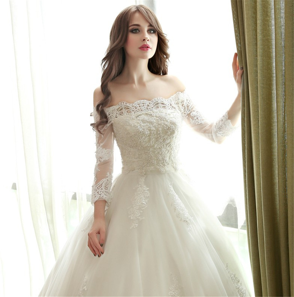 New Lace Ball Gown Wedding Dresses Boat Neck 3/4 Sleeve Custom ...