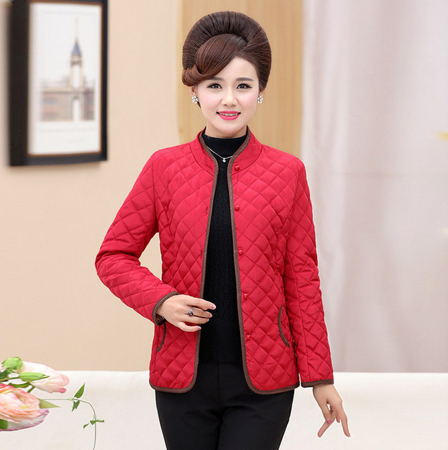 0932508158e thin cotton padded jacket fall winter new middle age mother chamarra mujer  plus size women fashion warm quilted coats army green