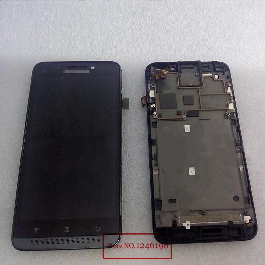 Prix pour Haute qualité Black LCD Display + écran tactile Digitizer TP assemblée verre avec cadre pour LENOVO A828T téléphone pièces de rechange