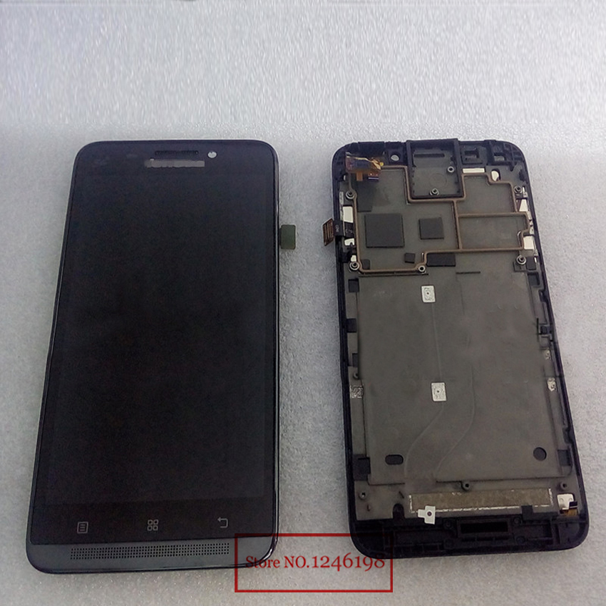 High Quality Black LCD Display + Digitizer Touch Screen TP Glass Assembly with Frame For LENOVO A828T Phone Replacement Parts high quality black silver lcd display