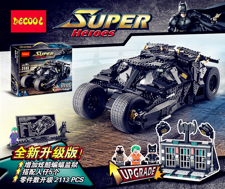 Decool batman 7111 Super Heroes Batman car The Tumbler Blocks Bricks  Children TOY Gift DIY Compatible Bela 76023 LELE 34005