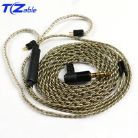 AUX 3.5mm Audio Cable Hifi Headphone Cable With Microphone For A2DC Pin ls50 ls70 ls200 ls300 e40 e50 Earphone Upgrade Cable DIY
