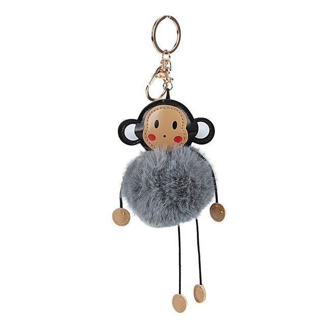 Macaco bonito Fofo Chaveiro Chaveiro Bolsa bolsa Pingente Acessório de Decoração (cinza)
