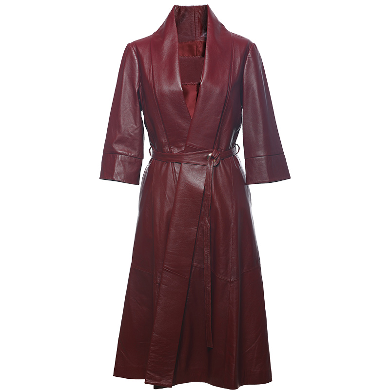 Des Femmes Noir Mince À D1910 noir Taille Rouge Fourrure Mouton Long Chaude Oversize De Veste Rouge Véritable 2018 Et Manteau vY8xRqwvd