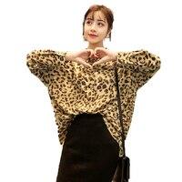 Fashion Women Oversized Shirts Leopard Print Tops Woman Boyfriend Style Blouse Drop Shoulder Shirt Lady Casual Loose Top 5XL 4XL