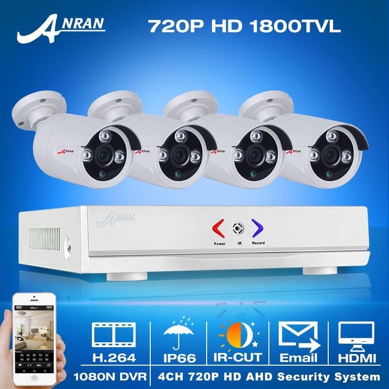Newest! 4CH 1080N HDMI DVR CCTV System&720P 1800TVL IR Outdoor Weatherproof Remote Security Surveillance Camera Kit Email Alarm