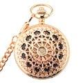 Новые карманные часы WOONUN  модные механические часы с изображением скелета из розового золота  ручные карманные часы с цепочкой  Механически...