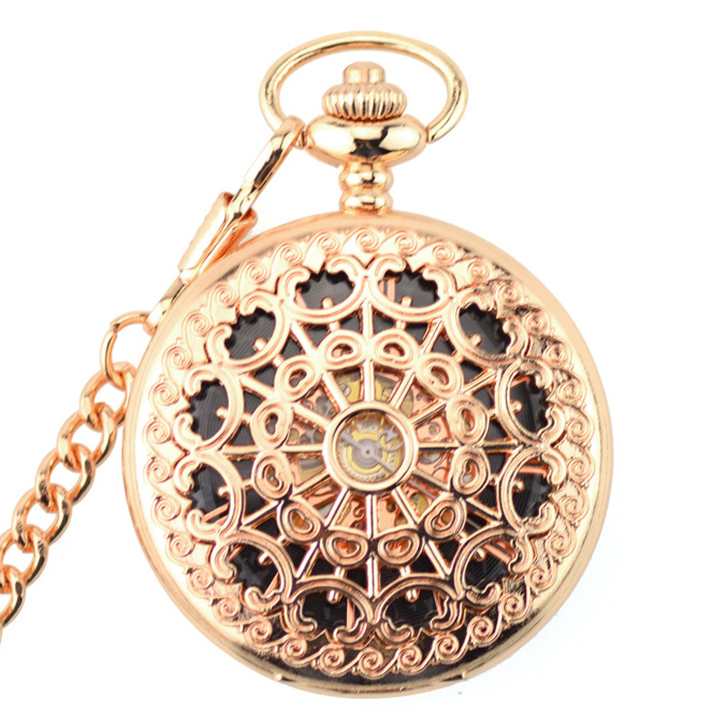 New WOONUN Pocket Watch Fashion Rose Gold Skeleton Mechanical Hand Wind Pocket Fob Watches With Chain Mechanical Pocket Watch