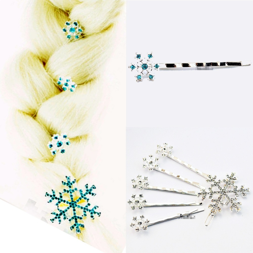 6 pcs/set Hair Clips Pins Princess Crystal Snowflake Hairclips