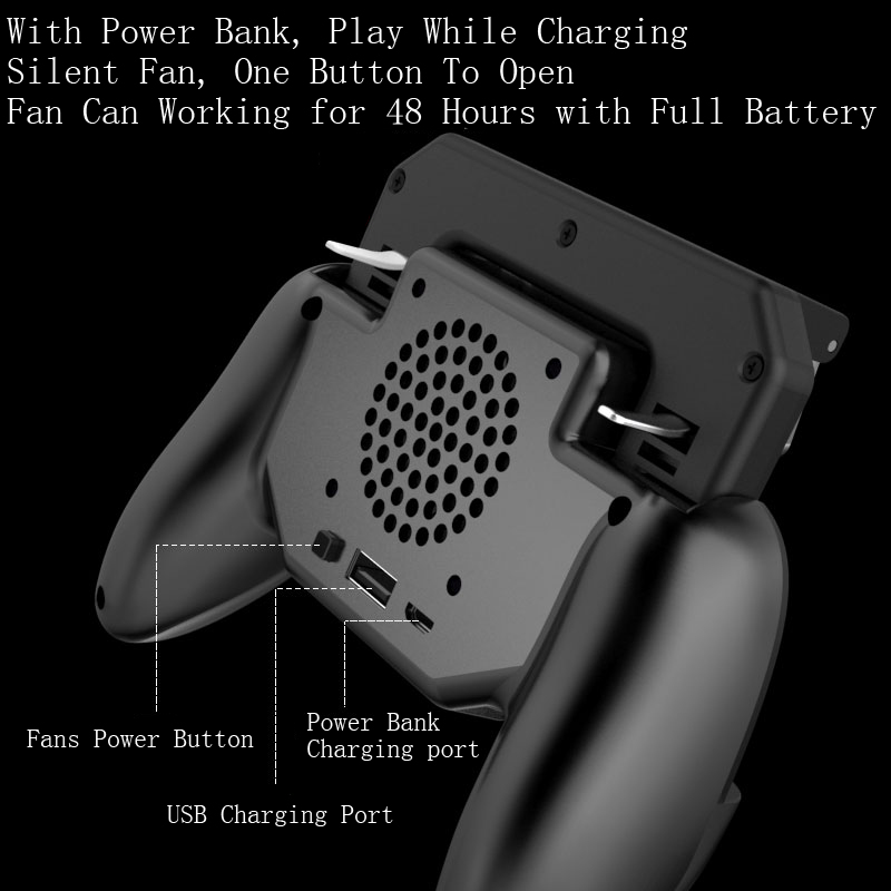 Image 3 - Pubg Controller Gamepad Pubg Mobile Trigger L1R1 Shooter Joystick Game Pad Phone Holder Cooler Fan with 2000/4000mAh Power Bank-in Gamepads from Consumer Electronics