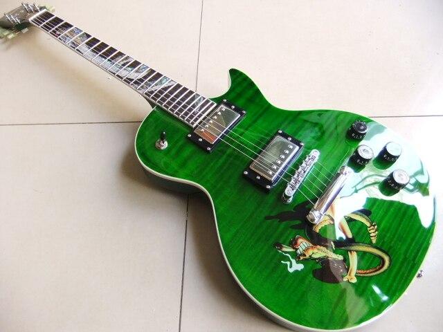 Оптовая продажа cnbald Slash Электрогитары с ушка змея декор в зеленый взрыв Одежда высшего качества 101119