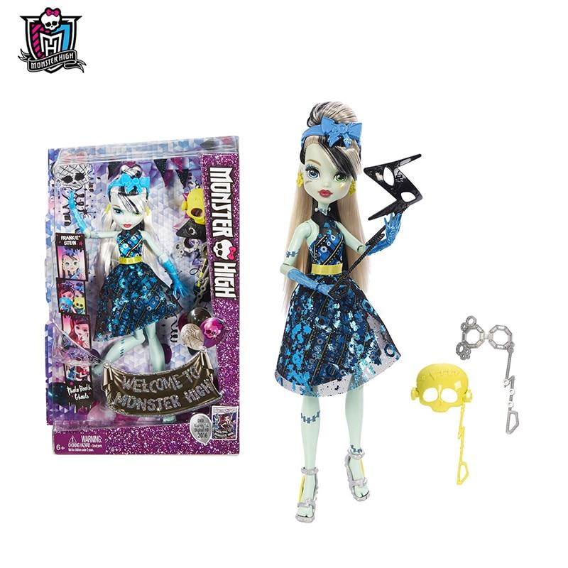 Original Monster High Mask Series Dance the Fright Away Frankie Stein One Pcs Doll American Girl Toys For Girls DNX34 кукла ручка monster high с подставкой frankie stein