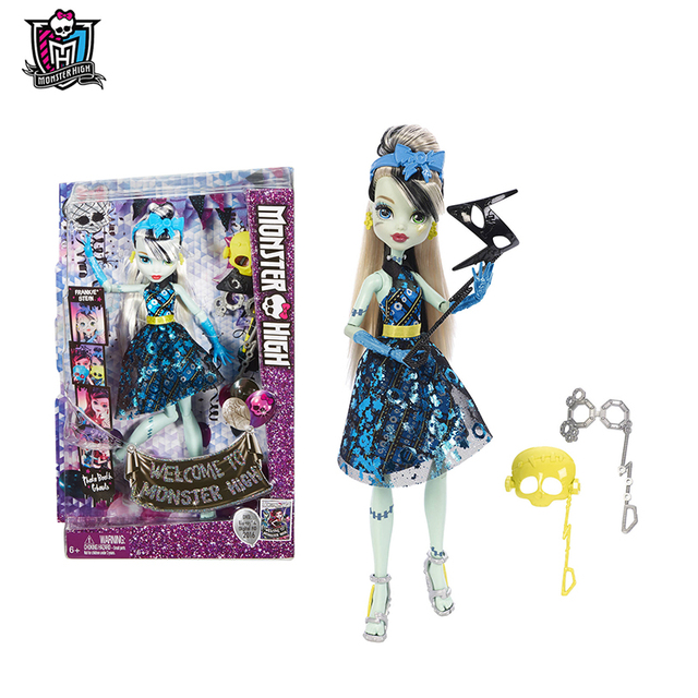 Original Monster High Mask Series Dance The Fright Away Frankie Stein One Pcs Doll American Girl