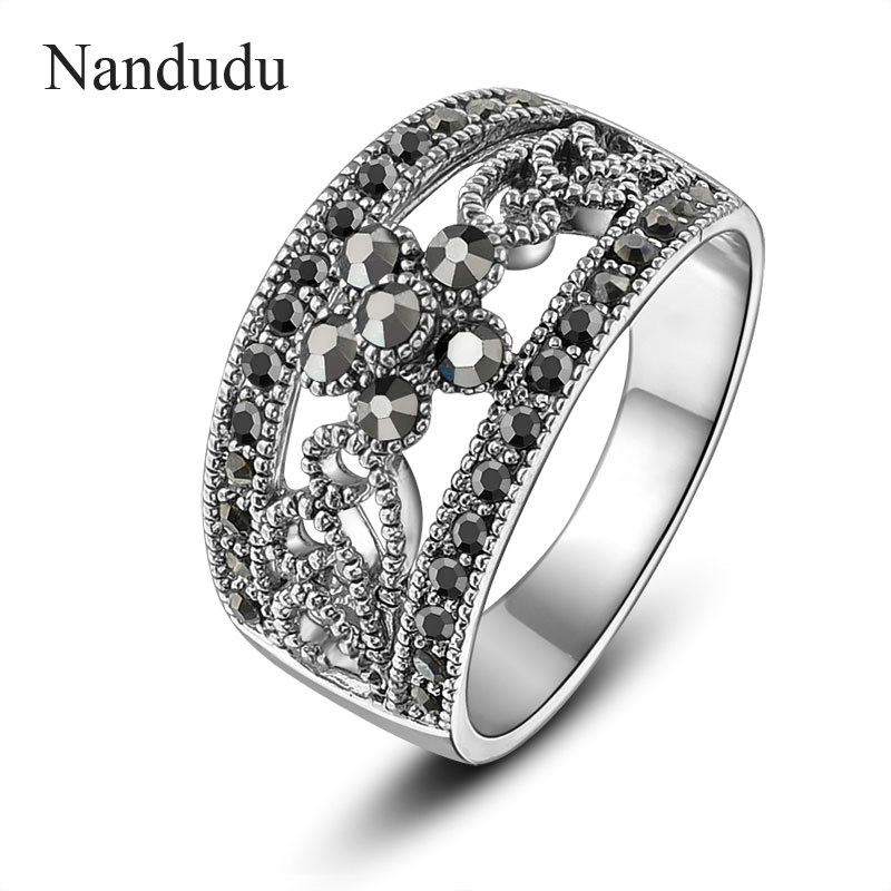 18k GP Black Grey Crystals Rings Retro Classic Hollow Design Cocktail Ring Fashion Women Jewelry Gift R1029