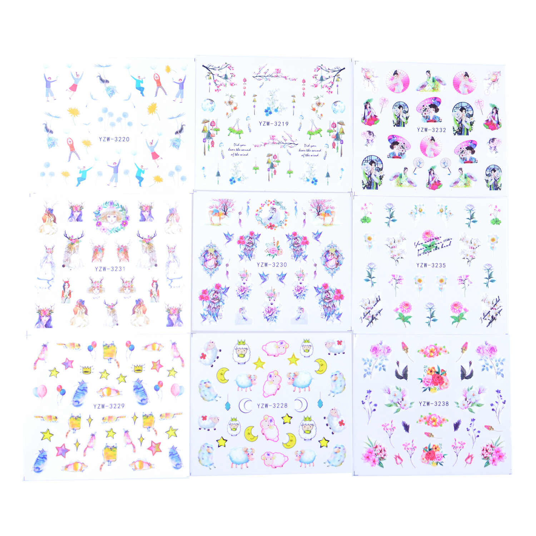 48pcs Mixed Design Nail Sticker Set Jewelry Flower Animals Geometry Watermark Decals Tattoo Nail Art Slider Wraps