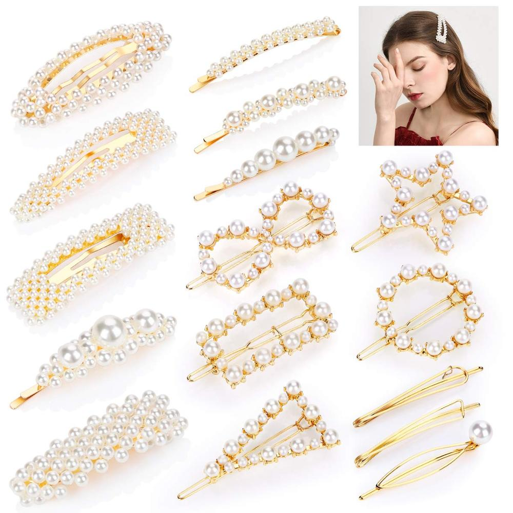 YBLNTEK 16PCS Pearl Hair Clip For Hair Elegant Hairpin Snap Barrette Hair Clips Korean Design Hairpins For Hair Accesories Women