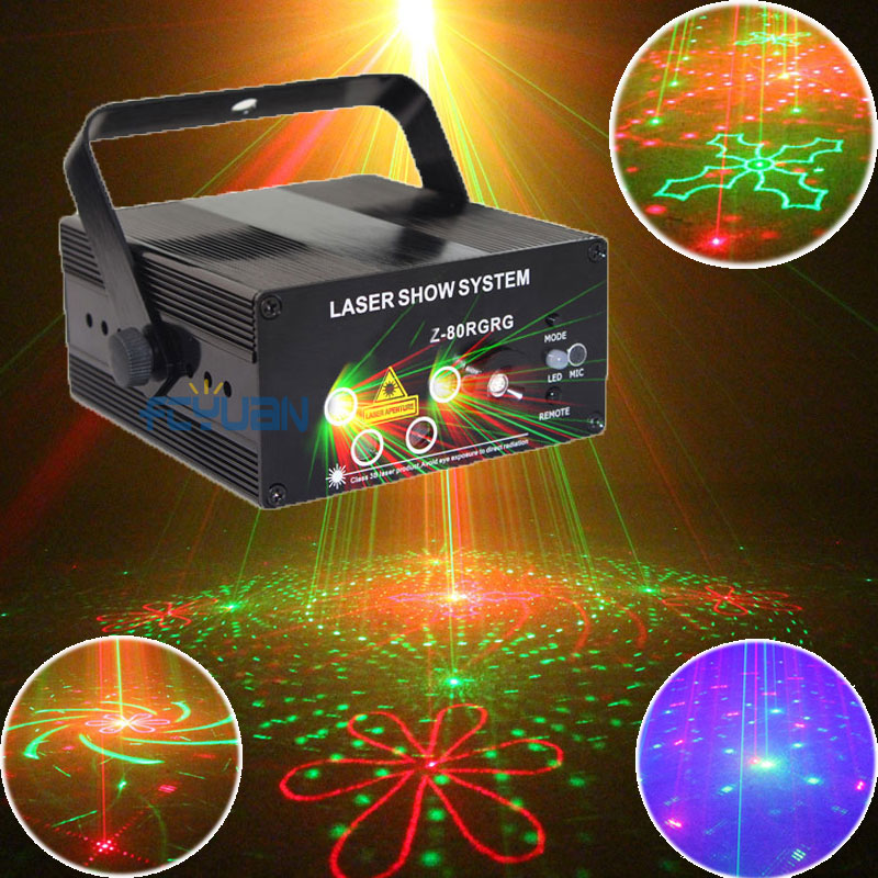 80 Patterns Red Green Laser Show System Blue LED Disco Party Magic Ball Dance Lights Stage DJ Lighting With Remote Sound Control rg mini 3 lens 24 patterns led laser projector stage lighting effect 3w blue for dj disco party club laser