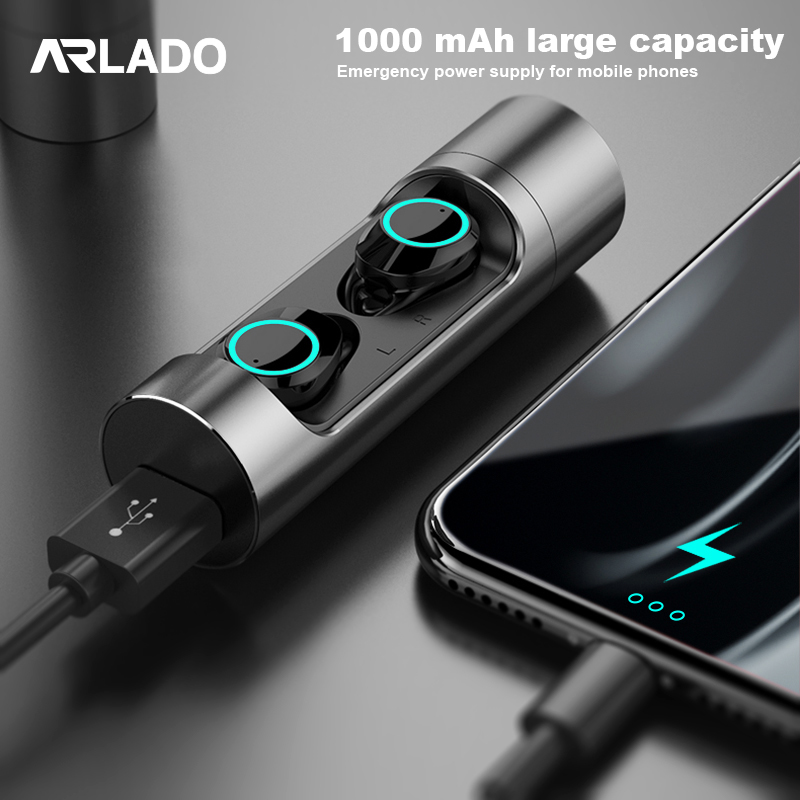 Arlado <font><b>X8</b></font> Wireless <font><b>Bluetooth</b></font> 5.0 Stereo Earbuds Touch Control Mini Invisible <font><b>Earphones</b></font> Waterproof Earbuds for Sports Gaming image