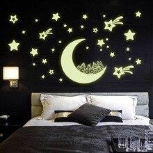 Noche Luminosa Pegatinas de Pared Creativo Brillante Luna Estrellas Patrón Casa Vinilo Adhesivos Decorativos para la Habitación Del Bebé Decoración Del Hogar