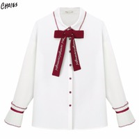 White Bow Tie Front Turn Down Collar Long Sleeve Shirt Women Buttons Up Front Lovely Fashion