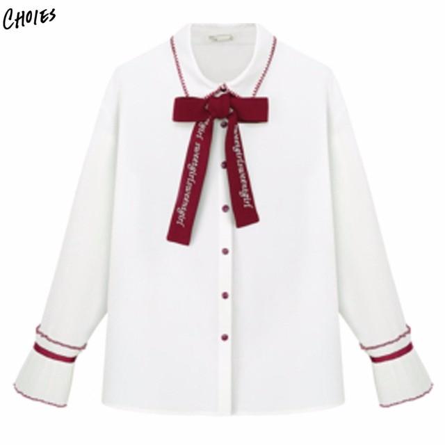 73daf40b0e Blanco pajarita frente vuelta Abrigos de plumas collar camisa de manga  larga mujeres Botones delantera encantadora