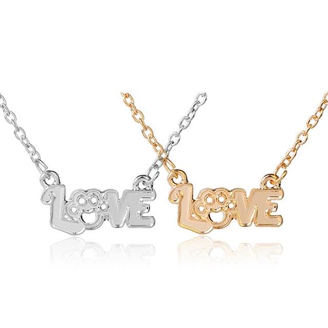 47d9c134d4f6 Carta de amor collares mujeres plata oro Color perro gato mascota collar  pata joyería conmemorativa regalo