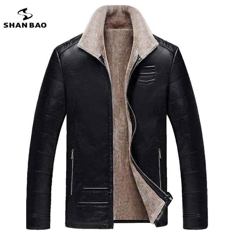 SHANBAO d'affaires gentleman manteau 2018 hiver nouvelle mode homme en cuir mince veste plus velours épais chaud revers manteau en cuir
