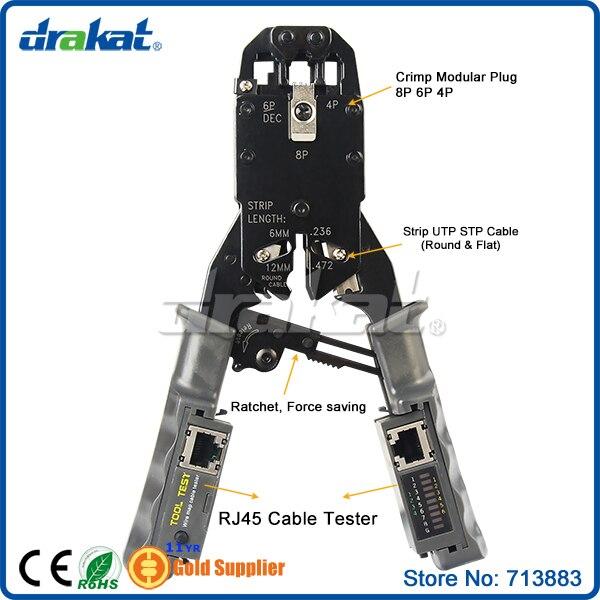 Ratchet RJ45 RJ11 RJ12 RJ22 Crimping Tool Network Lan Tester цена 2017