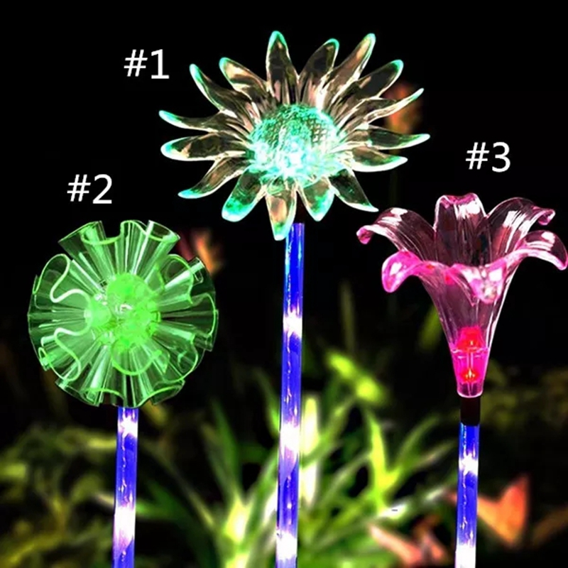 Solar Multi Color Changing LED Flower Stake Lights Outdoor Garden Path Yard Decoration Lawn Flower Party Lamp in Solar Lamps from Lights Lighting