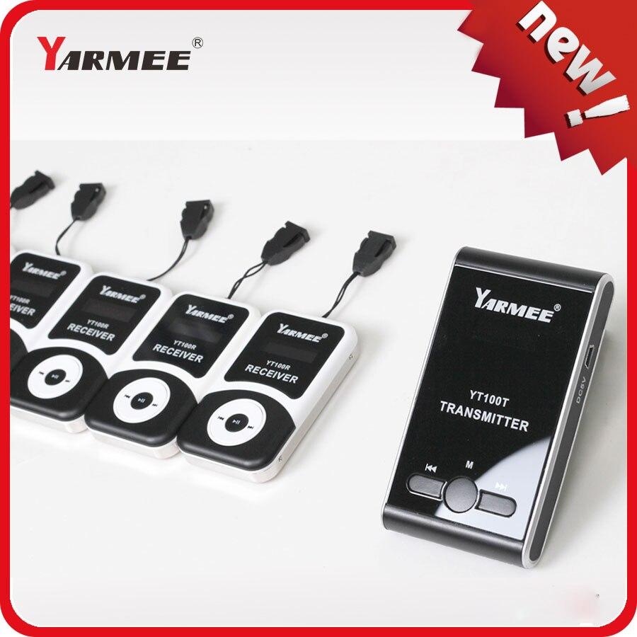 Безопасно упаковка! Yarmee Лидер продаж продукт! Портативный Беспроводной гид Системы С микрофоном наушники и Зарядное устройство Чехол