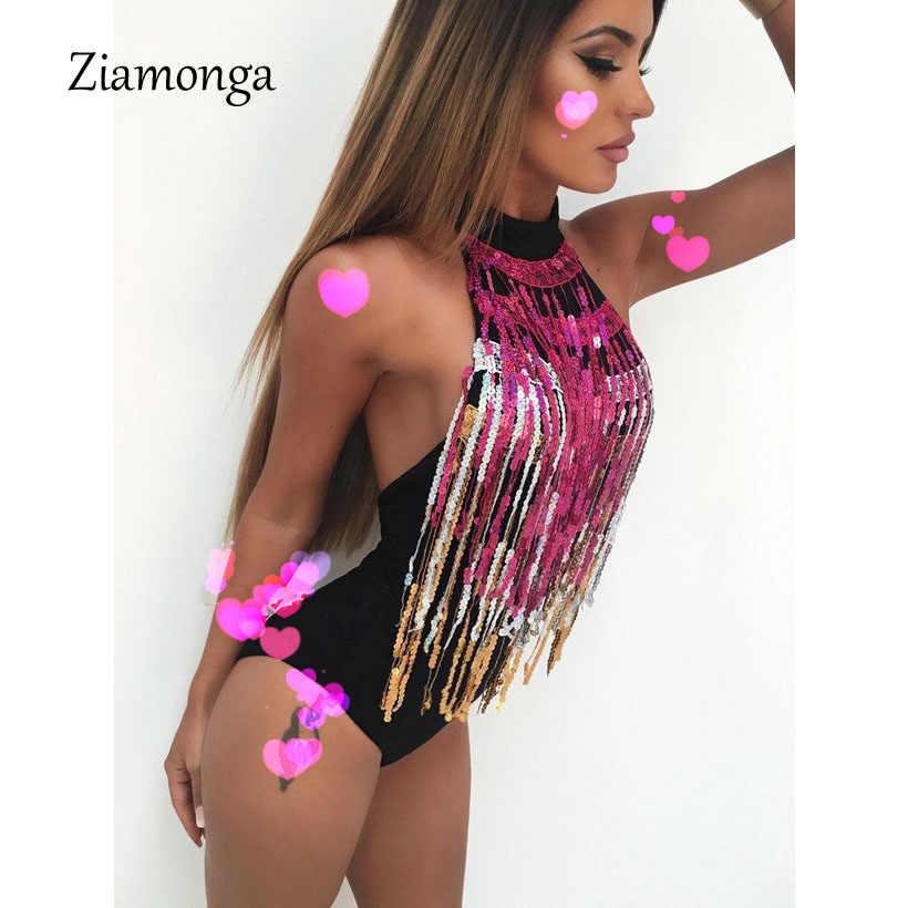Ziamonga блеск богиня боди с бахромой летние женские пикантные музыкальн