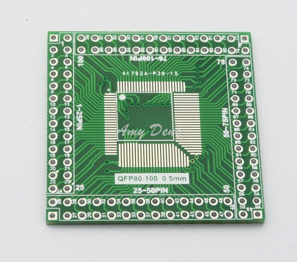 20pcs/lot QFP / EQFP / TQFP / LQFP100 / 80 SMT turn DIP CPU empty plate adapter plate 0.5mm