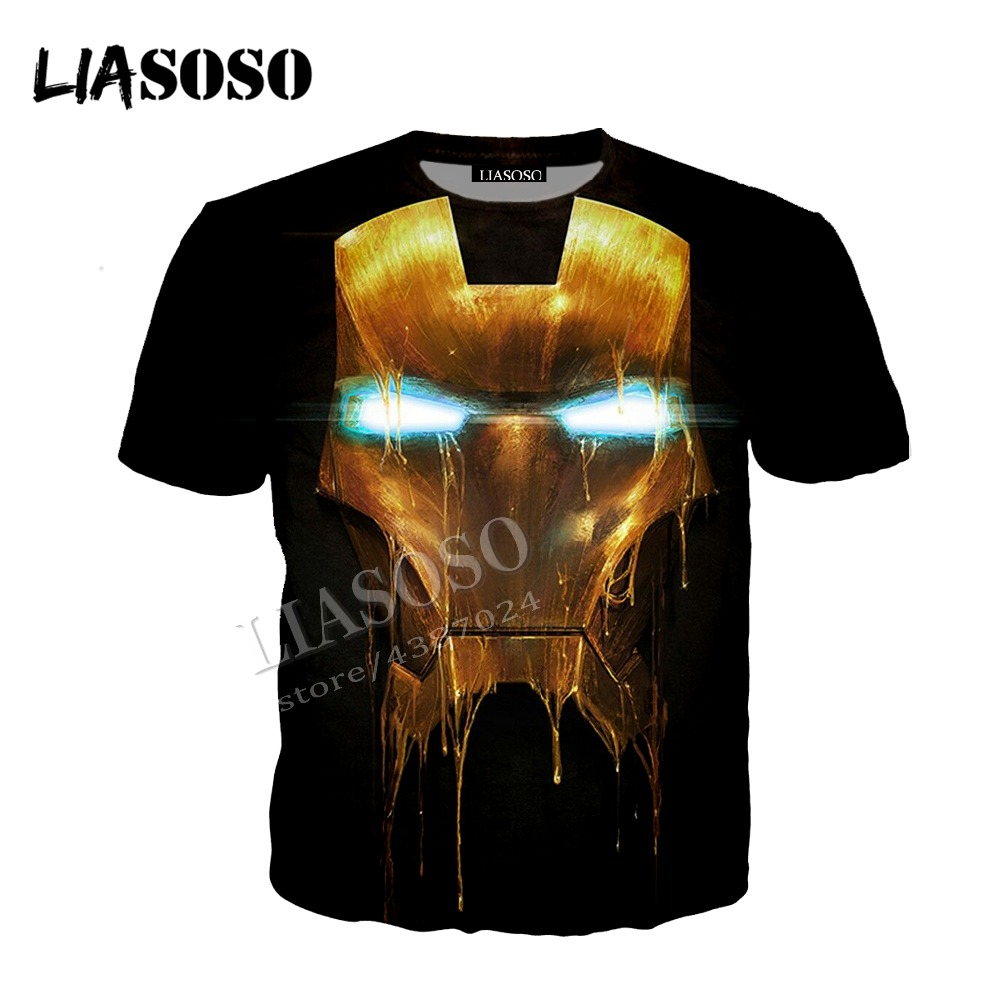 LIASOSO latest 3D printing cozy polyester sportswear Marvel movie anime Iron Man Stark mask zipper hooded shirt men women CX635