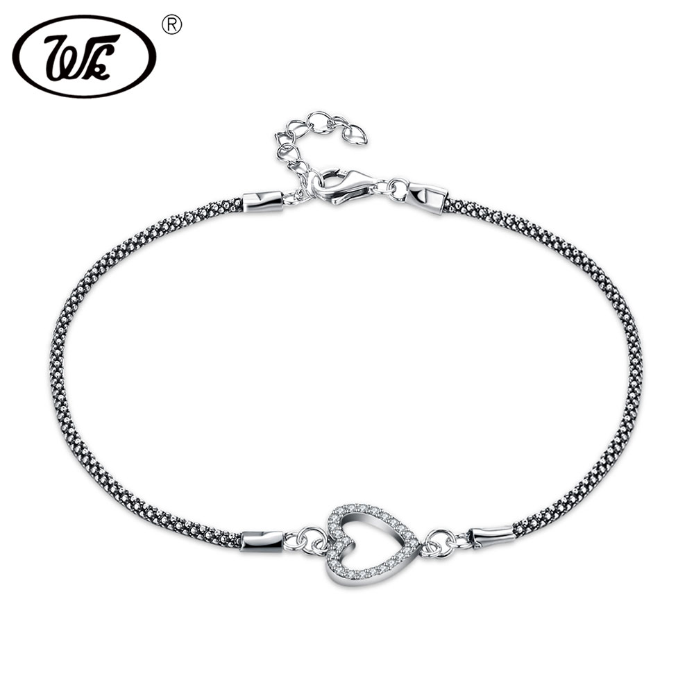 WK Simple Vintage Thai Silver 925 Cuban Chain Link Bracelet With Hollow Heart Circle Coin Charms Bracelets For Women W4 NBY27 цена