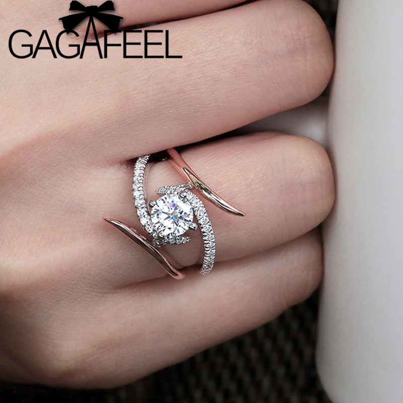GAGAFEEL Zircon Crystal-Ring Bohemia Jewelry Wedding-Engagement Rose-Gold-Color Women's