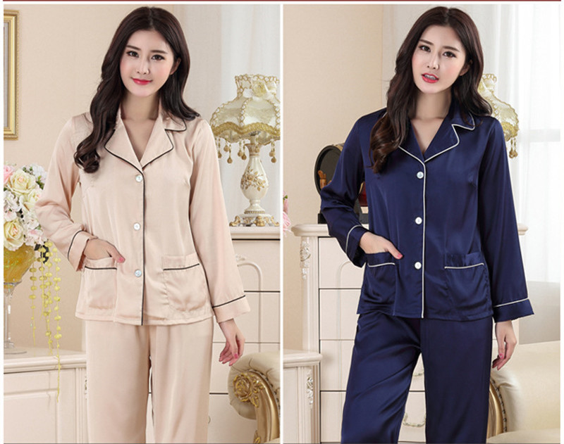 Home Suit 2 Piece Summer Pajama Set Women Pajamas Satin Pyjamas Faux Silk Lady Sleepwear With Pants SY404