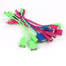 Colorful Glossy 15cm Short Micro USB to USB OTG Cable Adapter for Samsung Xiaomi HTC LG Android Mobile Phone flash drive
