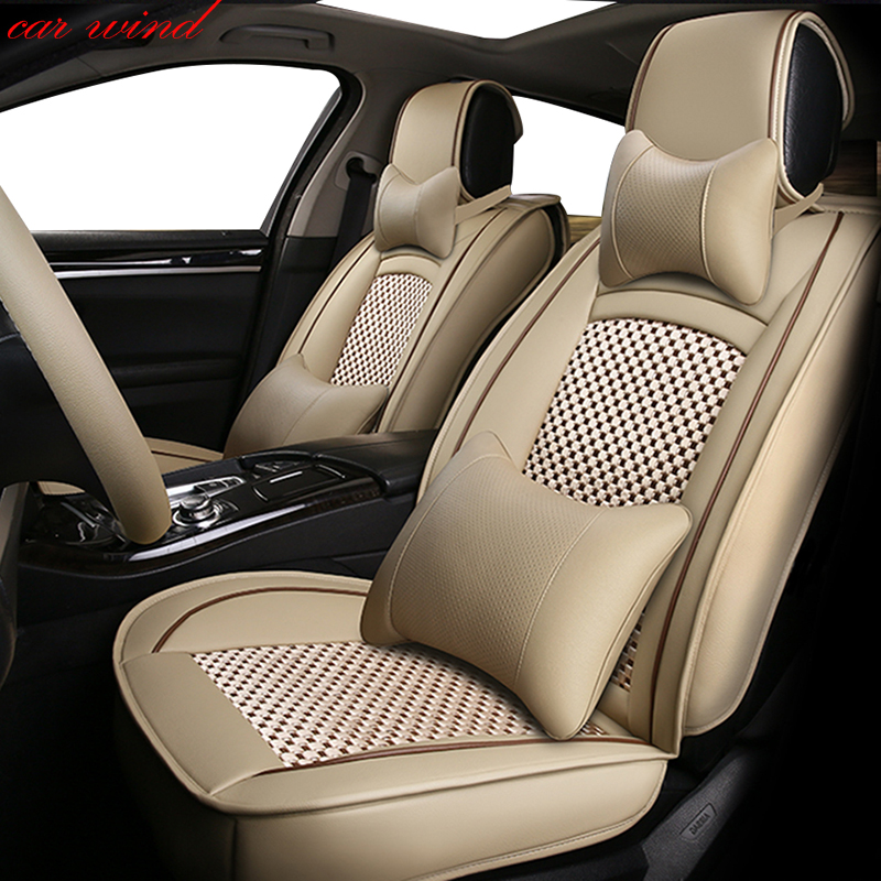 car wind Universal leather car seat cover For volvo s80 s60 ssangyong korando kia sportage 3 toyota rav4  accessories seat cover kkysyelva universal leather car seat cover set for toyota skoda auto driver seat cushion interior accessories