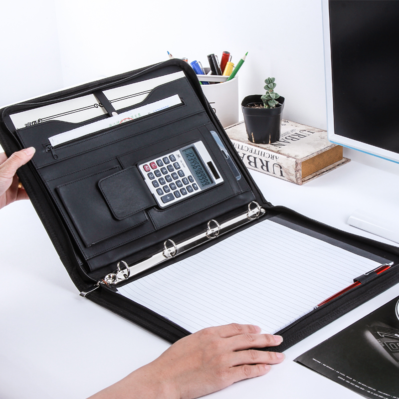 A5 A4 PU Leather Folder Zipper Padfolio With Binder Clip,  Business Organizer Mobile Documents Holder Ring Binder Black/red
