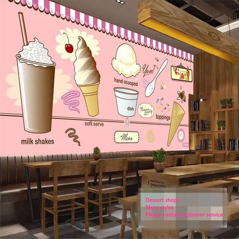 Personalizzato 3d Carta Da Parati Ice Cream Ice Cream Coffee Shop Negozio Di Tè Ristorante Sfondo Decorativo Muro Avanzata Materiale Impermeabile