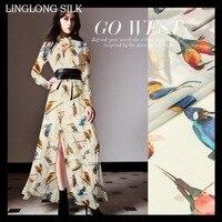 PRINTED SILK CHIFFON 140cm Width 8momme100 Natural Silk Fabric Silk Dress Fabric Pattern Wholesale Chiffon Fabric