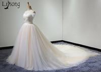 Two Toned Blush Pink Tulle Wedding Dress Unique Brides Formal Dresses Off Shoulder Elegant Design Bride