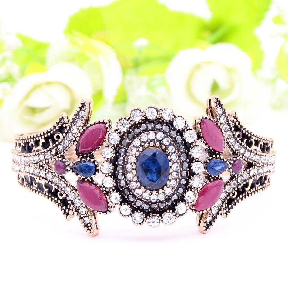 Exclusive Turkish Women Flower Bracelet Bangle Resin Rhinestone Jewelry Cuff Antique Gold Plated Paisley Pattern Bridal