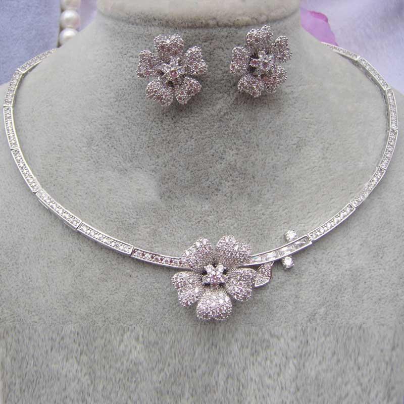 Moonso Real 925 argent Sterling AAA zircon cubique bijoux pour les femmes fiançailles mariage fleur oreille et collier J2387