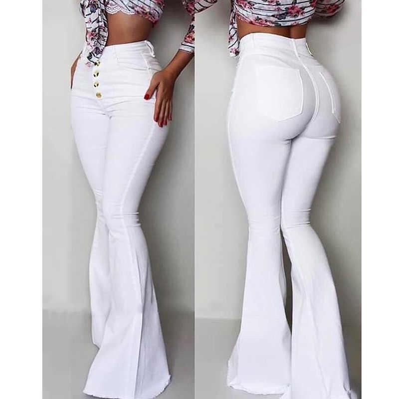 2019 Mode Dichtgeknoopt Bell-Bottom Hoge Taille Broek Vrouwen Solid slim fit wit flare broek Zomer Elegant workwear patalon femme