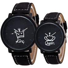 Amantes da moda casal relógio de couro unisex mens mulheres da rainha do rei coroa senhoras casuais estudantes de presente de quartzo relógios de pulso