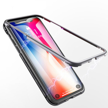 Magnetic iPhone Case forX 8 7 6s plus XR XS MAX  Clear Tempered Glass Built Magnet