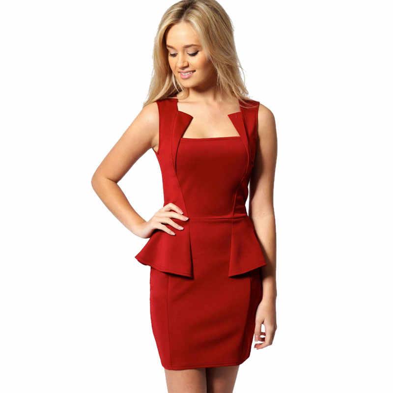 ... Top Quality M L XL Women Lady Sexy Fashion OL Peplum Dress Party Bodycon  Dresses White Black 1c3061ec1303