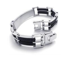 21.6 cm Moda popular contratado negro encanto pulsera de acero inoxidable hombres mujeres guapos pulsera accesorios 075701